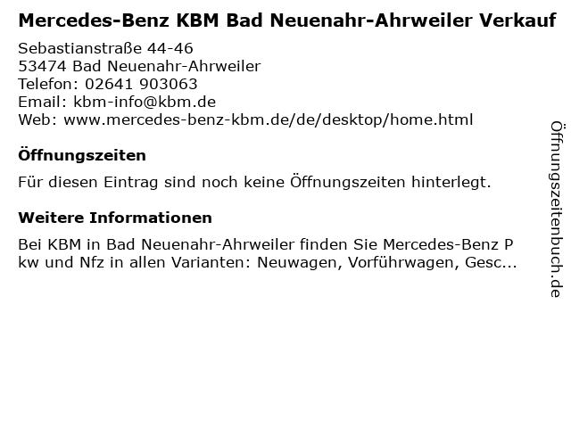 KBM Motorfahrzeuge in Bad-Neuenahr-Ahrweiler: Adresse und Öffnungszeiten