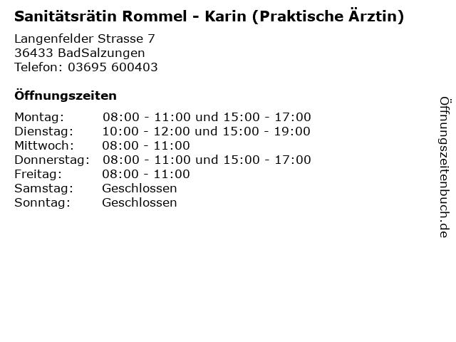 Sanitätsrätin Rommel - Karin (Praktische Ärztin) in BadSalzungen: Adresse und Öffnungszeiten