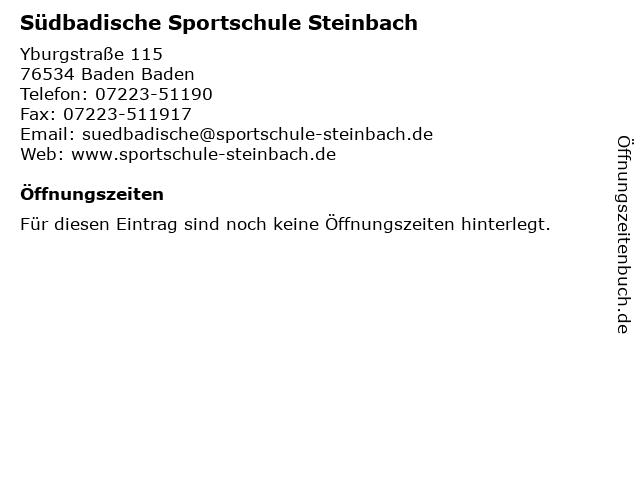 Südbadische Sportschule Steinbach in Baden Baden: Adresse und Öffnungszeiten