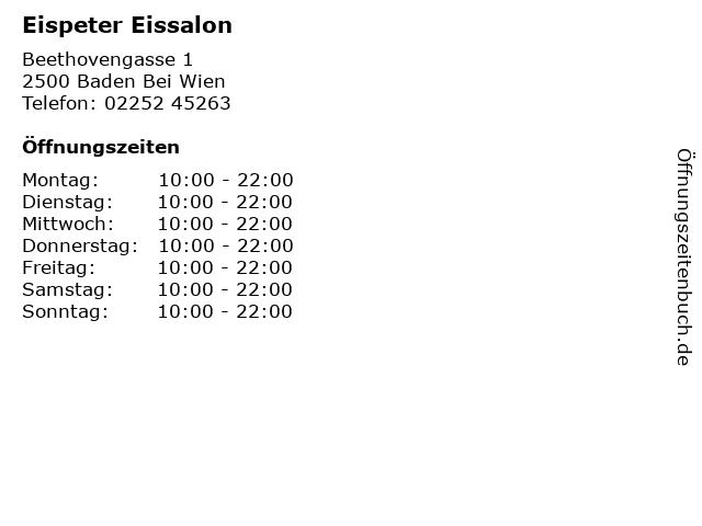 Eispeter Eissalon in Baden Bei Wien: Adresse und Öffnungszeiten