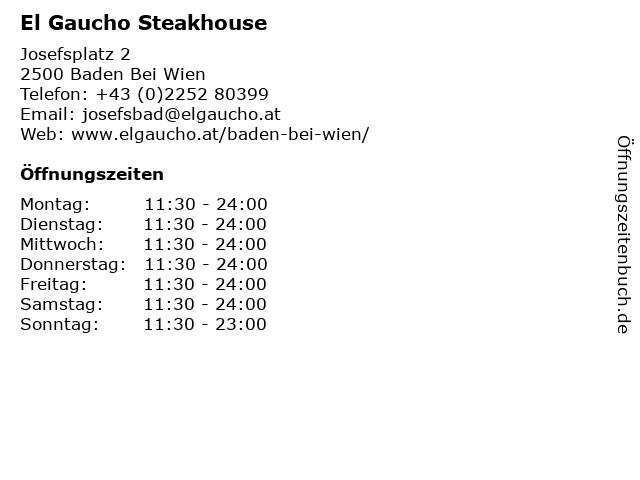 El Gaucho Steakhouse in Baden Bei Wien: Adresse und Öffnungszeiten