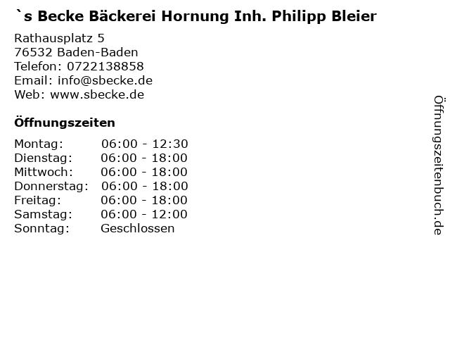`s Becke Bäckerei Hornung Inh. Philipp Bleier in Baden-Baden: Adresse und Öffnungszeiten