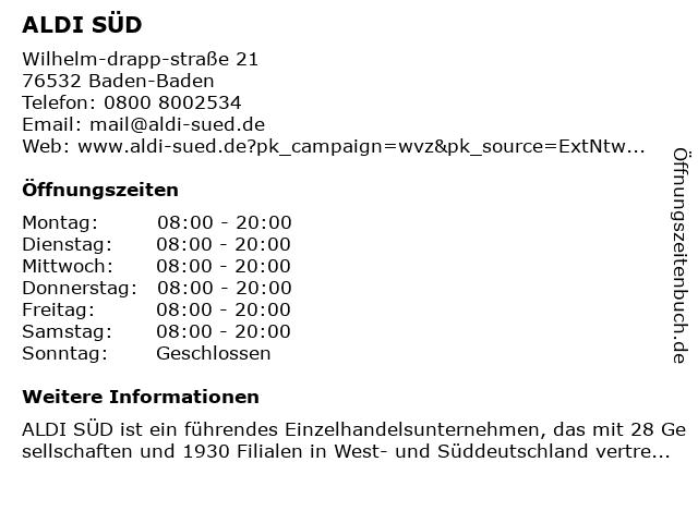ALDI SÜD in Baden-Baden: Adresse und Öffnungszeiten