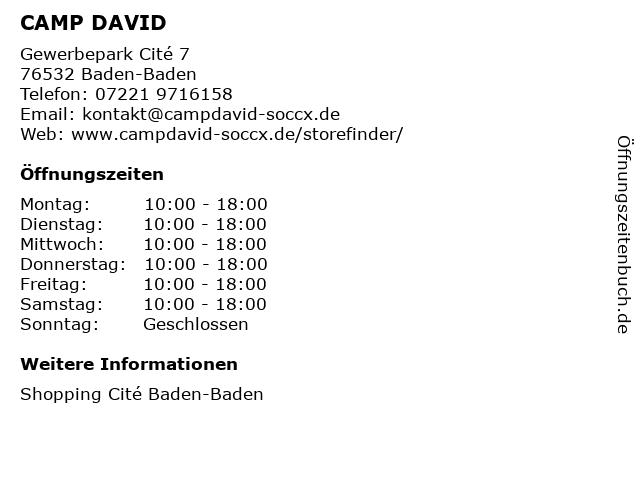 CAMP DAVID in Baden-Baden: Adresse und Öffnungszeiten