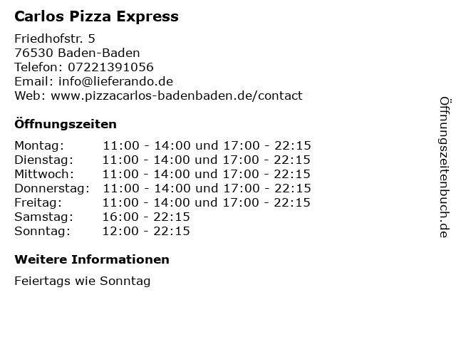 Carlos Pizza Express in Baden-Baden: Adresse und Öffnungszeiten