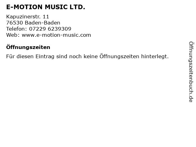 E-MOTION MUSIC LTD. in Baden-Baden: Adresse und Öffnungszeiten