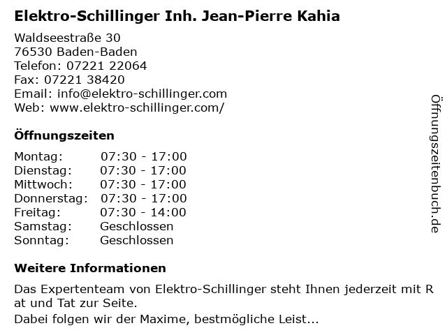Elektro-Schillinger Inh. Jean Pierre Kahia e.K. in Baden-Baden: Adresse und Öffnungszeiten