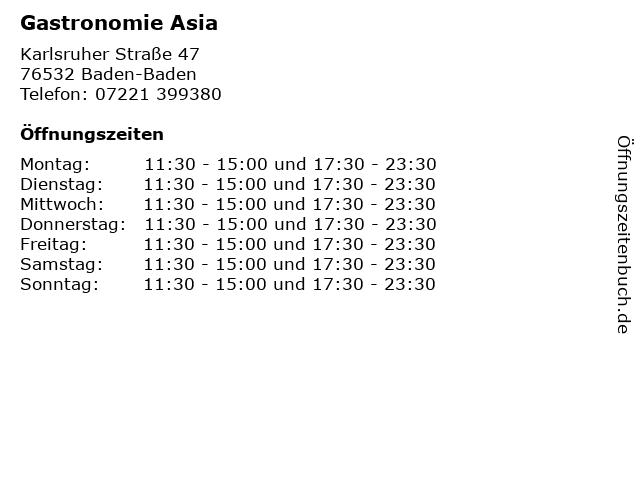 Gastronomie Asia in Baden-Baden: Adresse und Öffnungszeiten