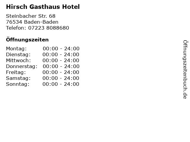 Hirsch Gasthaus Hotel in Baden-Baden: Adresse und Öffnungszeiten
