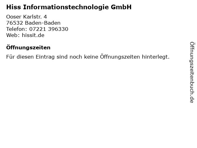 Hiss Informationstechnologie GmbH in Baden-Baden: Adresse und Öffnungszeiten