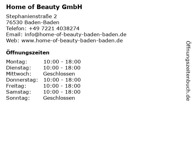 Home of Beauty GmbH in Baden-Baden: Adresse und Öffnungszeiten