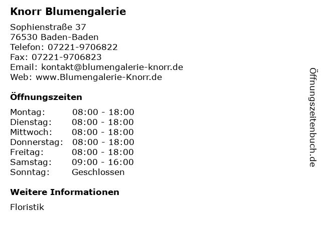 Knorr Blumengalerie in Baden-Baden: Adresse und Öffnungszeiten