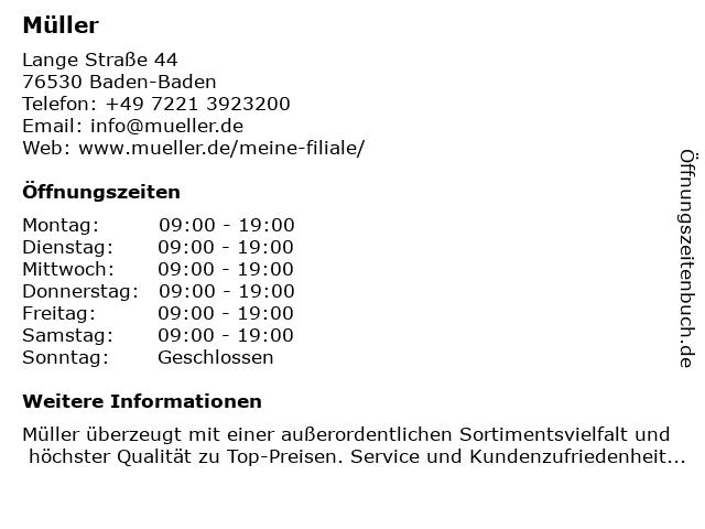Müller Drogeriemarkt in Baden-Baden: Adresse und Öffnungszeiten