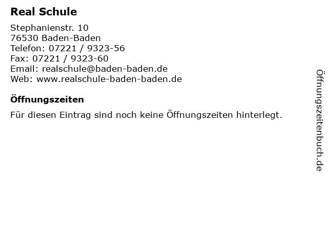 Real Schule in Baden-Baden: Adresse und Öffnungszeiten