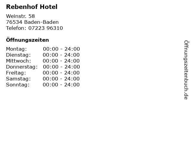 Rebenhof Hotel in Baden-Baden: Adresse und Öffnungszeiten