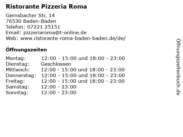 Ristorante Pizzeria Roma in Baden-Baden: Adresse und Öffnungszeiten