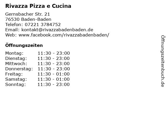 Rivazza Pizza e Cucina in Baden-Baden: Adresse und Öffnungszeiten