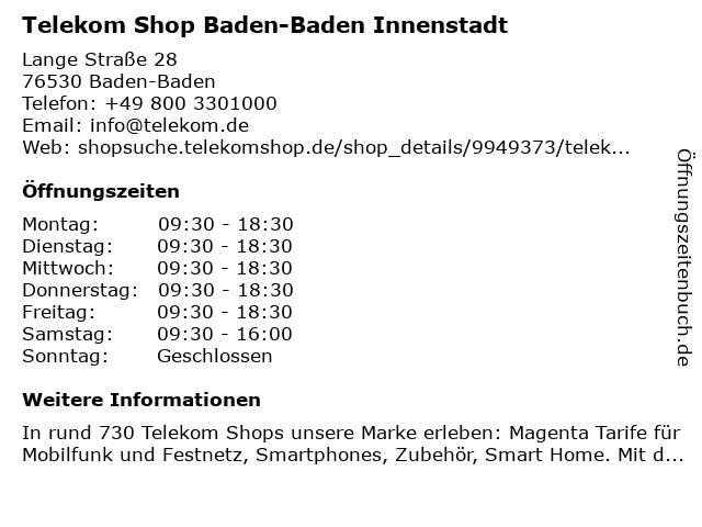 Telekom Shop Baden-Baden Innenstadt in Baden-Baden: Adresse und Öffnungszeiten