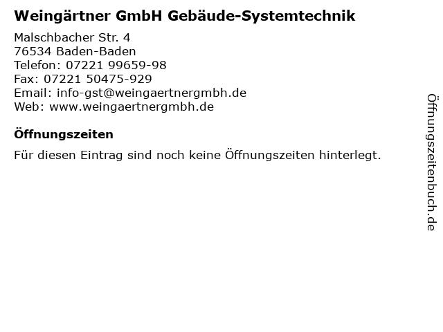 Weingärtner GmbH Gebäude-Systemtechnik in Baden-Baden: Adresse und Öffnungszeiten