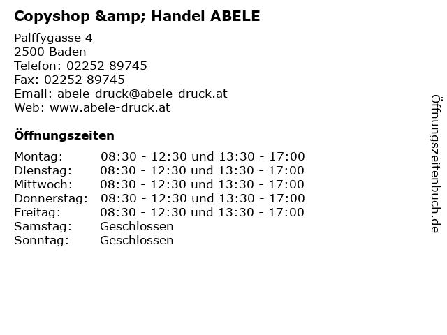 Copyshop & Handel ABELE in Baden: Adresse und Öffnungszeiten
