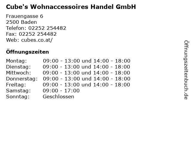 Cube's Wohnaccessoires Handel GmbH in Baden: Adresse und Öffnungszeiten