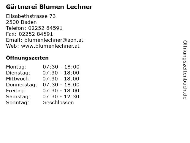 Gärtnerei Blumen Lechner in Baden: Adresse und Öffnungszeiten