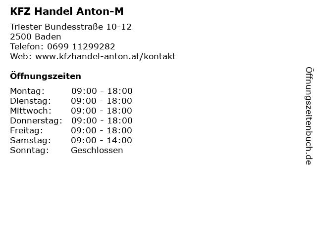 KFZ Handel Anton-M in Baden: Adresse und Öffnungszeiten