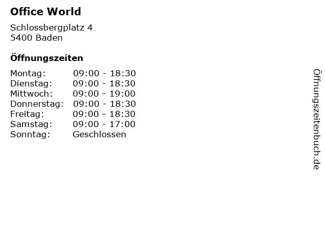 Office World in Baden: Adresse und Öffnungszeiten