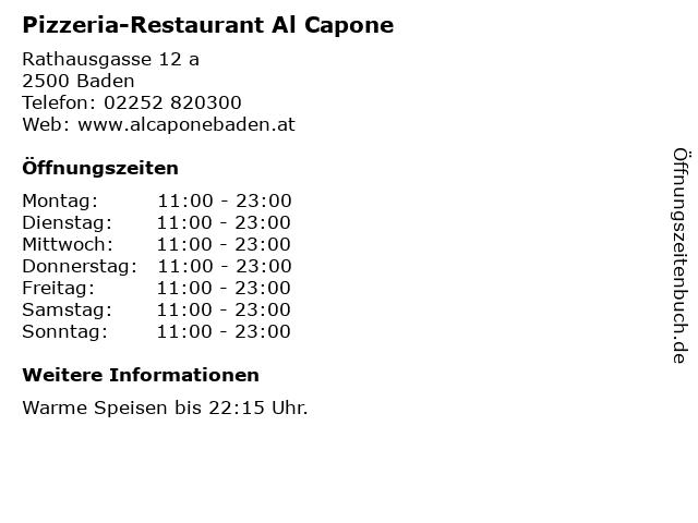 Pizzeria-Restaurant Al Capone in Baden: Adresse und Öffnungszeiten
