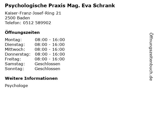 Psychologische Praxis Mag. Eva Schrank in Baden: Adresse und Öffnungszeiten