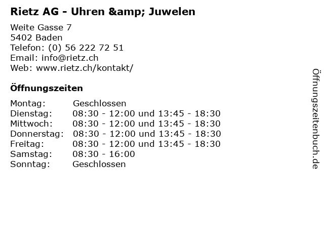 Rietz AG - Uhren & Juwelen in Baden: Adresse und Öffnungszeiten