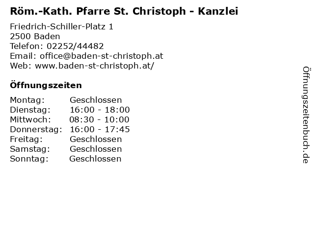 Röm.-Kath. Pfarre St. Christoph - Kanzlei in Baden: Adresse und Öffnungszeiten