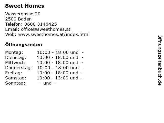Sweet Homes in Baden: Adresse und Öffnungszeiten