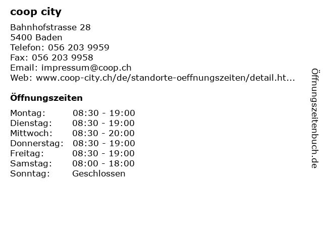 coop city in Baden: Adresse und Öffnungszeiten