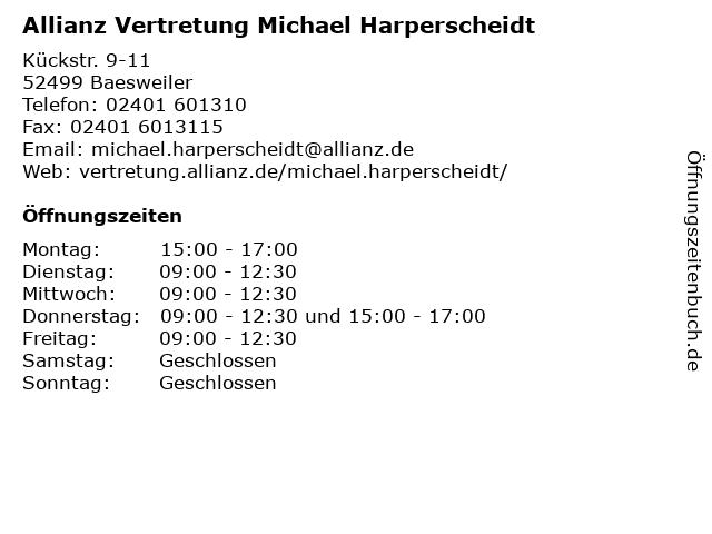 Allianz Vertretung Michael Harperscheidt in Baesweiler: Adresse und Öffnungszeiten
