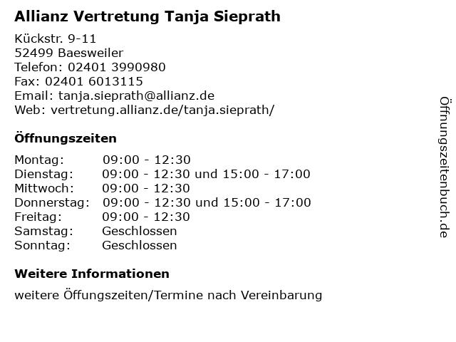 Allianz Vertretung Tanja Sieprath in Baesweiler: Adresse und Öffnungszeiten