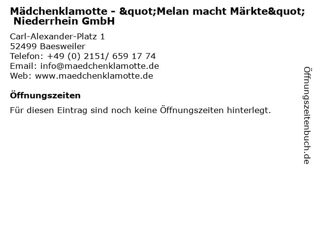 """Mädchenklamotte - """"Melan macht Märkte"""" Niederrhein GmbH in Baesweiler: Adresse und Öffnungszeiten"""