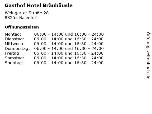 Gasthof Hotel Bräuhäusle in Baienfurt: Adresse und Öffnungszeiten