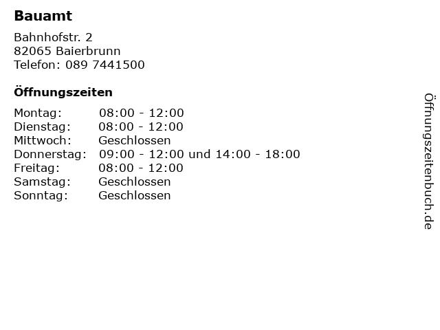 Bauamt in Baierbrunn: Adresse und Öffnungszeiten