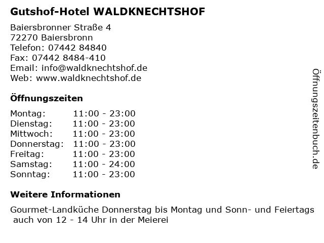 Gutshof-Hotel WALDKNECHTSHOF in Baiersbronn: Adresse und Öffnungszeiten