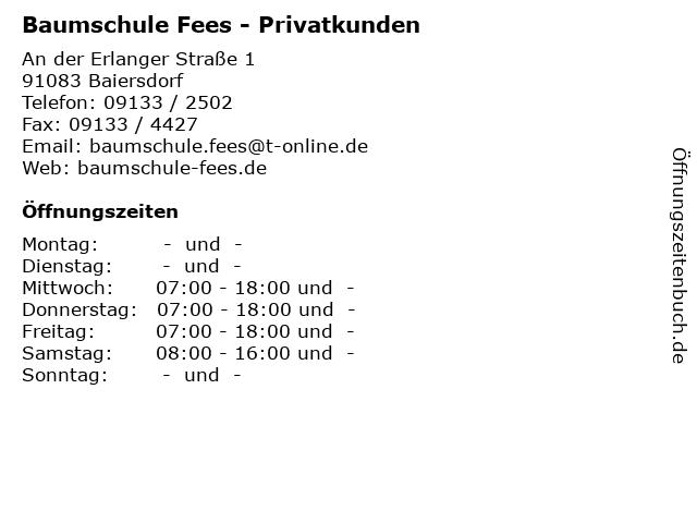 Baumschule Fees - Privatkunden in Baiersdorf: Adresse und Öffnungszeiten