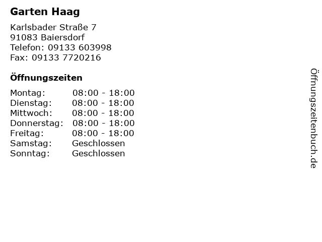 Garten Haag in Baiersdorf: Adresse und Öffnungszeiten