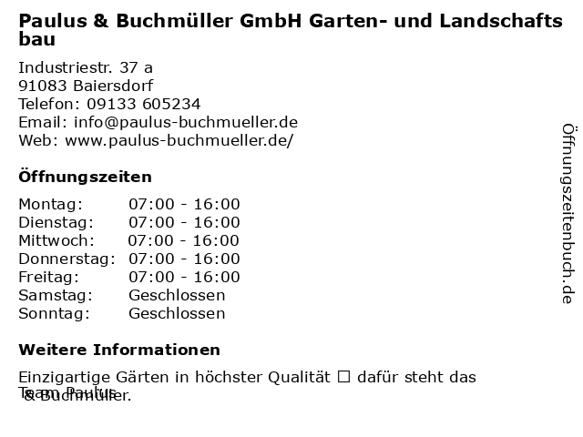 Paulus & Buchmüller GmbH Garten- und Landschaftsbau in Baiersdorf: Adresse und Öffnungszeiten