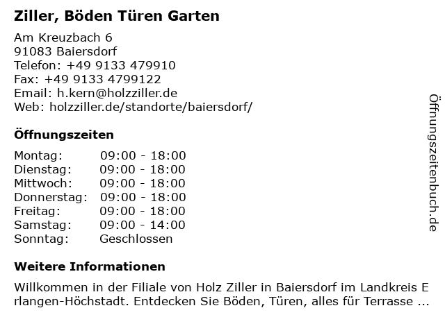 Ziller, Böden Türen Garten in Baiersdorf: Adresse und Öffnungszeiten