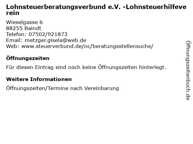 Lohnsteuerberatungsverbund e.V. -Lohnsteuerhilfeverein in Baindt: Adresse und Öffnungszeiten