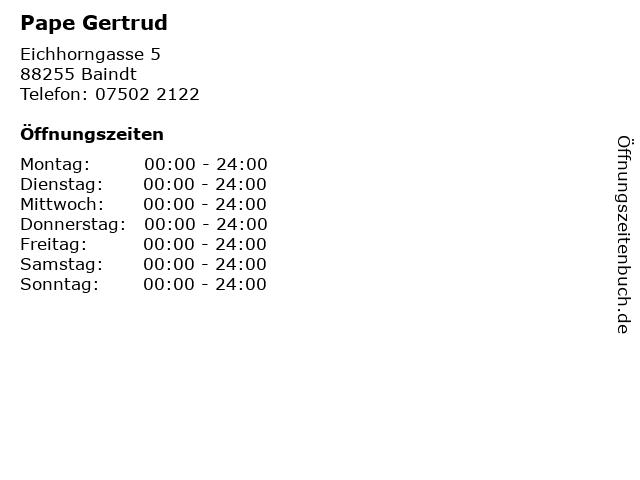 Pape Gertrud in Baindt: Adresse und Öffnungszeiten