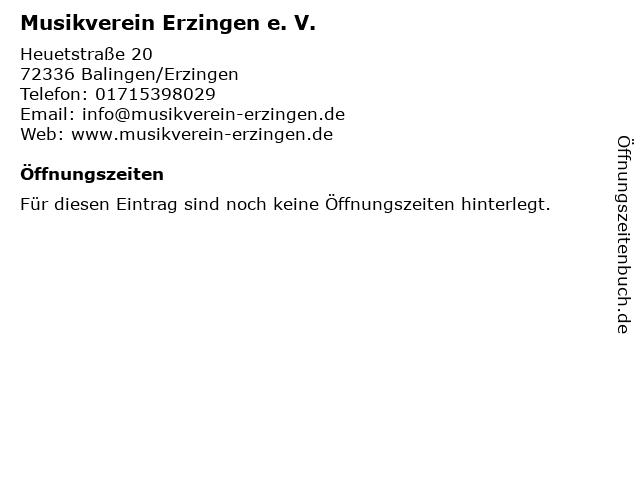 Musikverein Erzingen e. V. in Balingen/Erzingen: Adresse und Öffnungszeiten