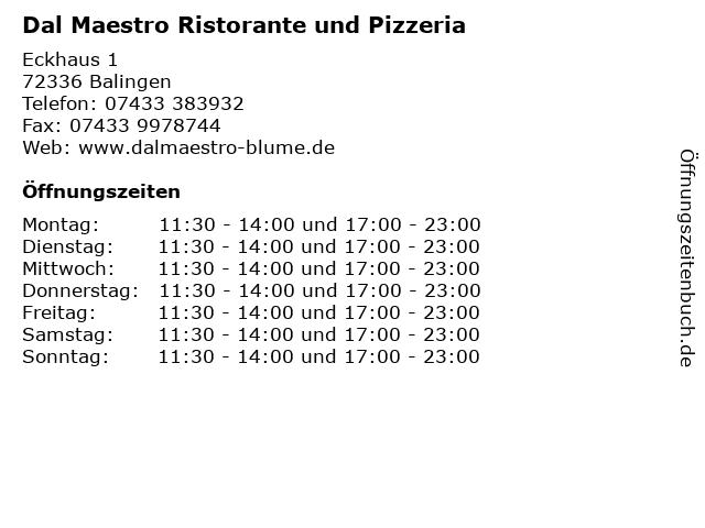 Dal Maestro Ristorante und Pizzeria in Balingen: Adresse und Öffnungszeiten