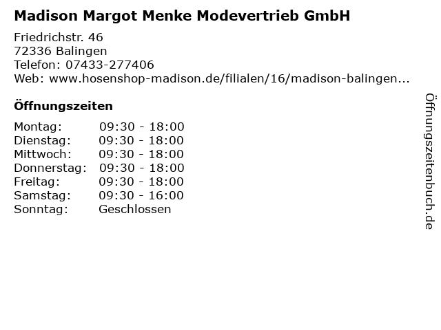 Madison Margot Menke Modevertrieb GmbH in Balingen: Adresse und Öffnungszeiten