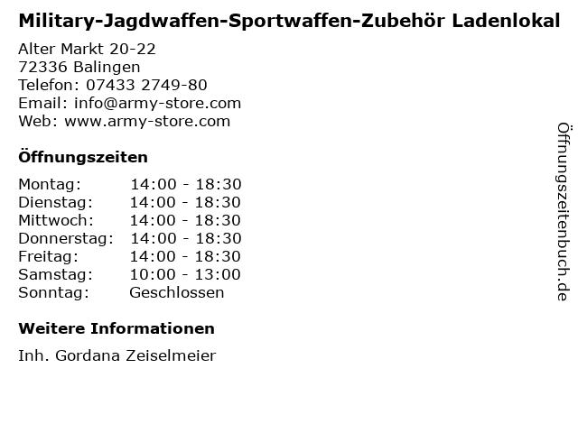 Military-Jagdwaffen-Sportwaffen-Zubehör Ladenlokal in Balingen: Adresse und Öffnungszeiten